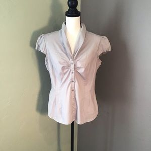 Striped short sleeve shirt with ruched front